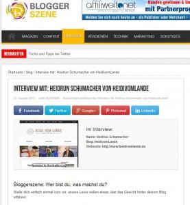 HeidivomLande, Bergedorf, Pressestimmen, Interview, Blogger Magazin, Bloggerszene