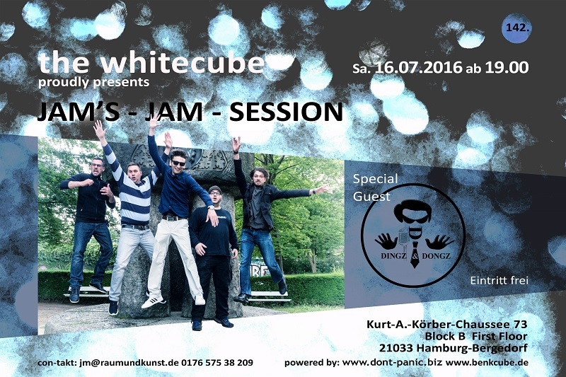 Bergedorf, Jam Session, White Cube, don´t panic, Jörn Möller, Künstler, Django deluxe, Musik, Auftritt, Band, Blog, HeidivomLande, Heidis Diary Clips, YouTube, White Cube, Jam Jam Session, Dingz und Dongz, Hamburg