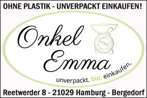 Onkel Emma, Unverpackt, Bio einkaufen, Kein Plastik, Bioverpackung, Bergedorf, Umwelt schonen, Hamburg, Reetwerder, Geschäft, aktiv gegen Plastikmüll
