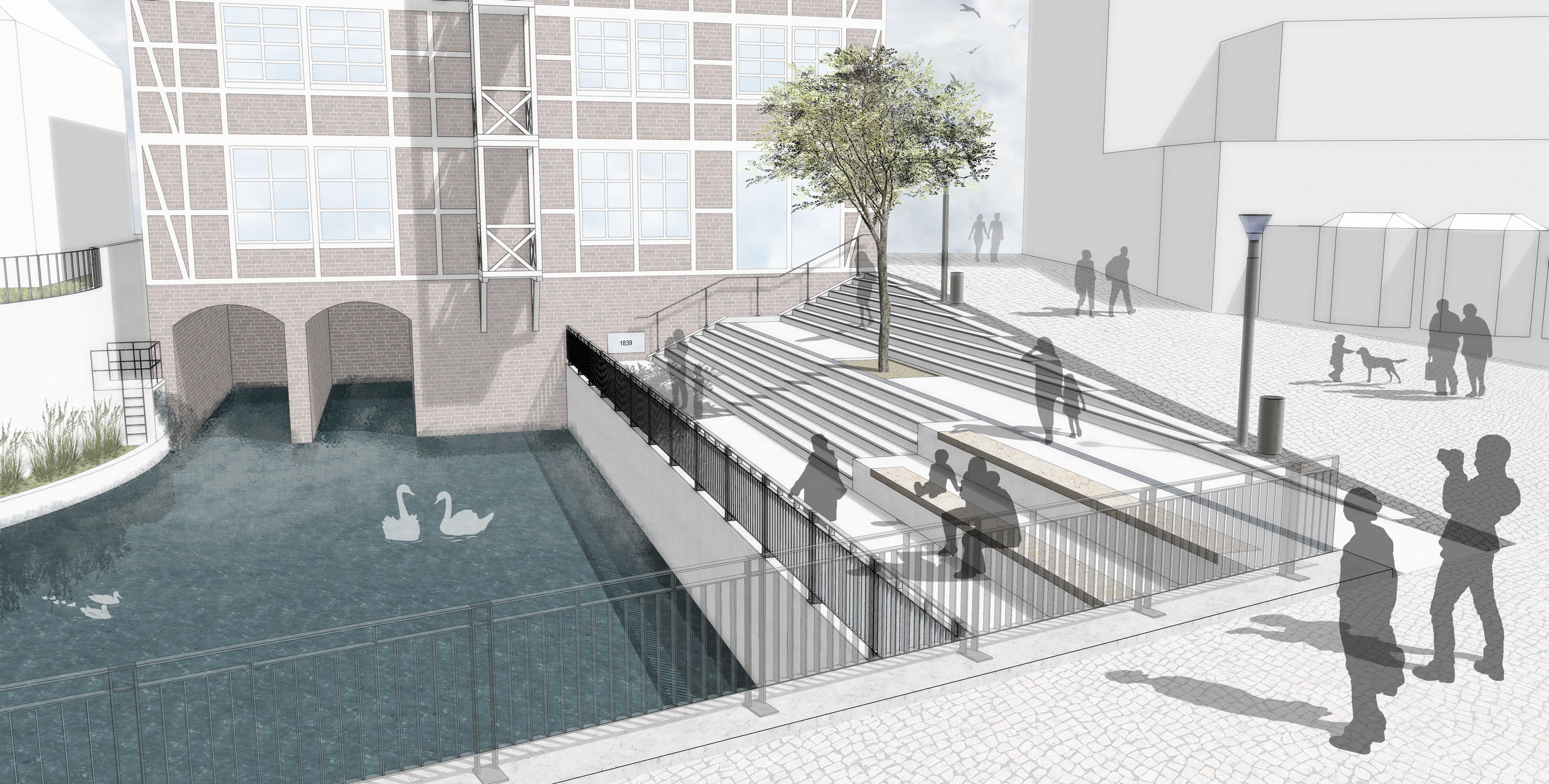 Neuer Lieblingsort in Bergedorf für 1,96 Millionen Euro! Spatenstich für die Wassertreppe am Kupferhof