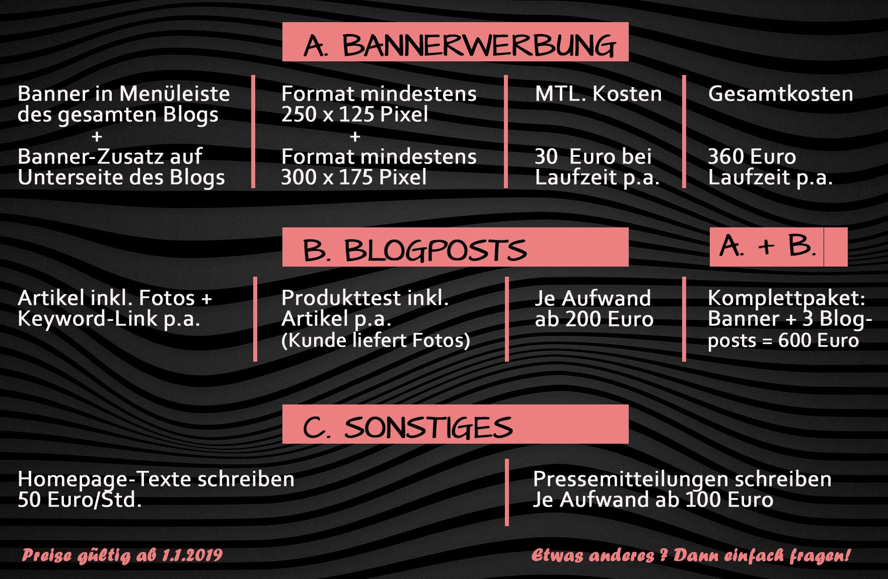 Preisliste, Konditionen, Bannerwerbung, Werbung, Heidi vom Lande, Blog, Bloggerin, Sponsored Posts, Blogpost, Texte für Homepage, Pressemitteilungen, PR-Arbeit, Preise, Hamburg