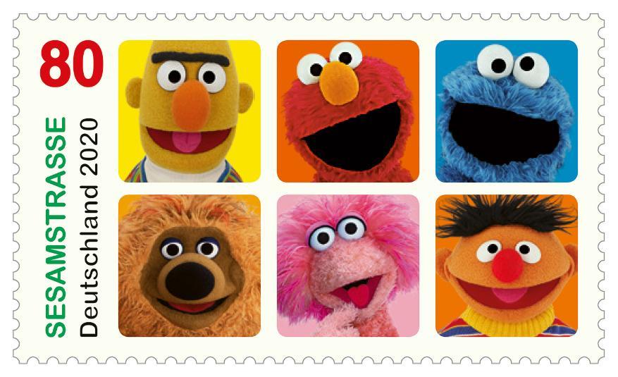 Sesamstraße, Briefmarke, Sesame Street, Sesame Street, Kinder, Deutschland-Briefmarke, NDR, Hamburg, 80 Cent, Sonderbriefmarke