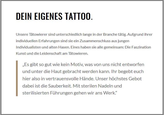 Texte für Webseiten, Homepage, Relaunch, Texterstellung, Cult Tattoo- und Piercing, Studio, Hamburg, Bergedorf